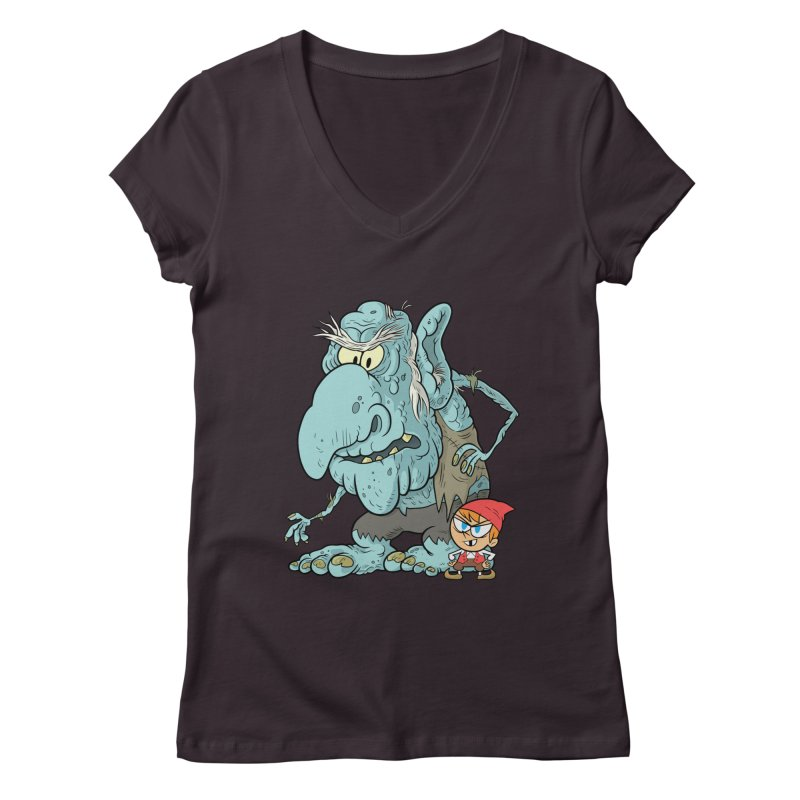 the boy and the troll Women's Regular V-Neck by scabfarm