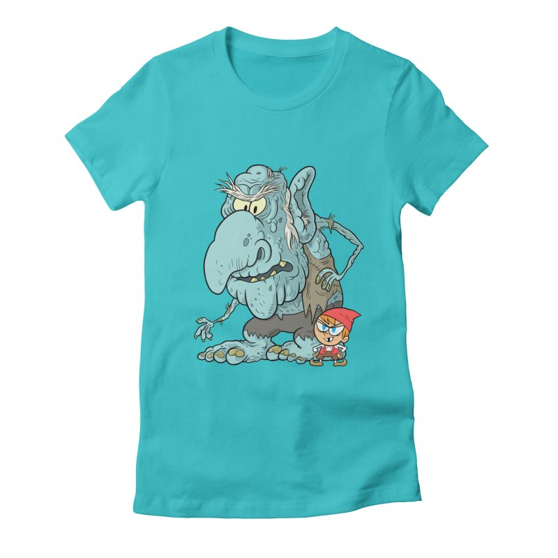 the boy and the troll Women's Fitted T-Shirt by scabfarm