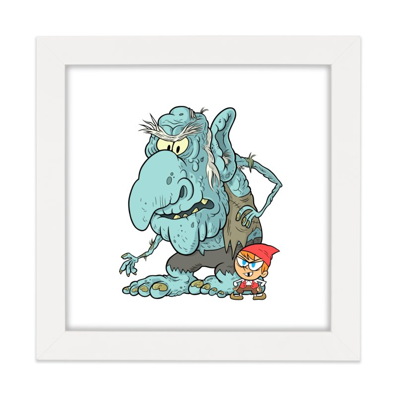 the boy and the troll Home Framed Fine Art Print by scabfarm