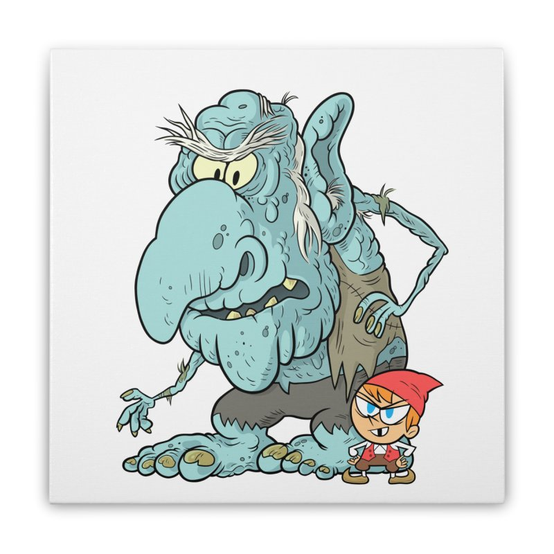 the boy and the troll Home Stretched Canvas by scabfarm