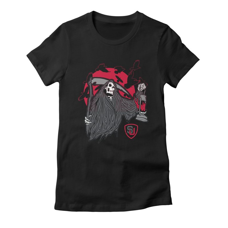 Death Comes Women's Fitted T-Shirt by Scare U