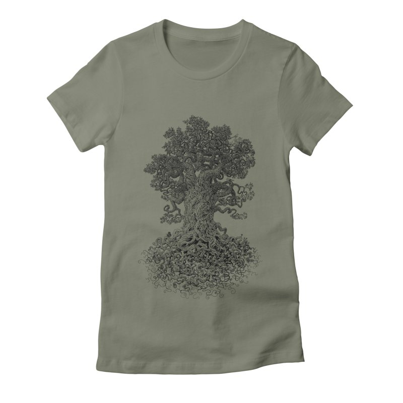 Gnarled Tree Women's Fitted T-Shirt by Scatterbrain Tees