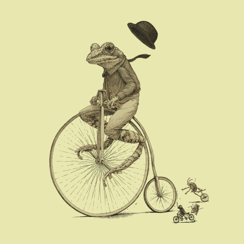 Penny Farthing Frog None  by Scatterbrain Tees