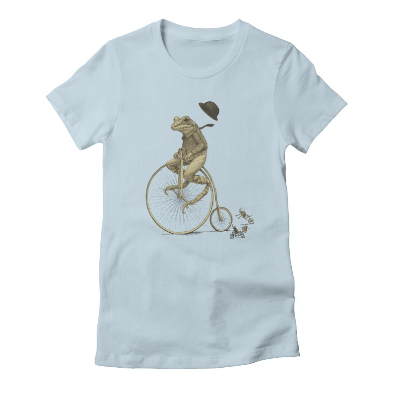 Penny Farthing Frog Women's Fitted T-Shirt by Scatterbrain Tees