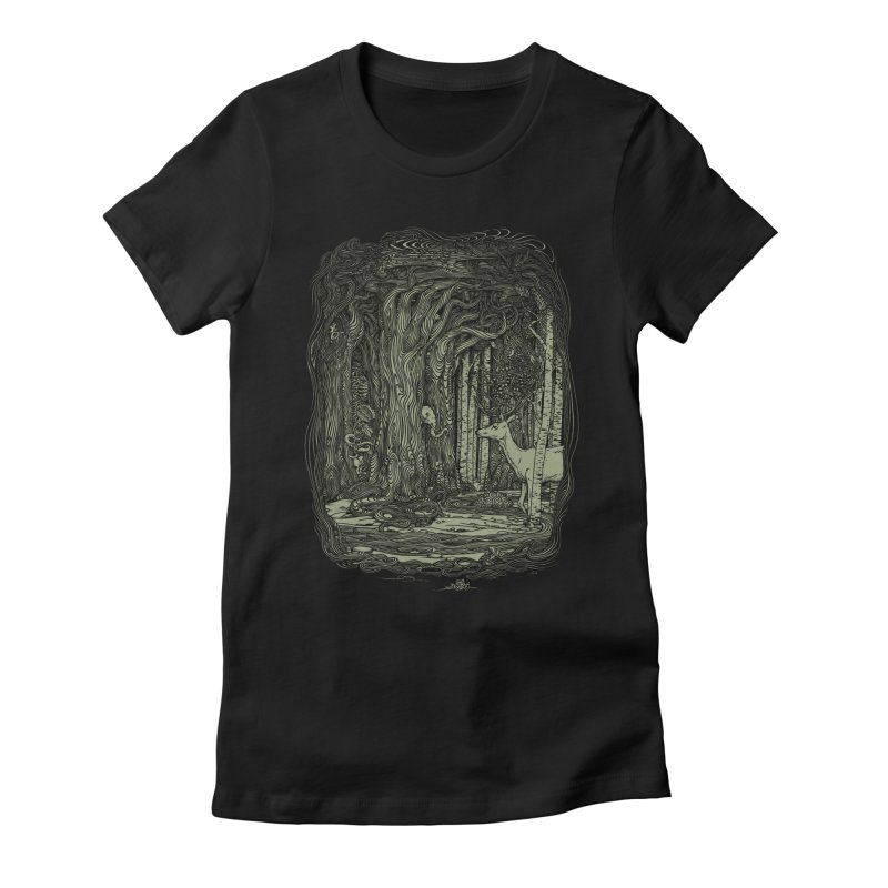 Tangled Forest Women's Fitted T-Shirt by Scatterbrain Tees