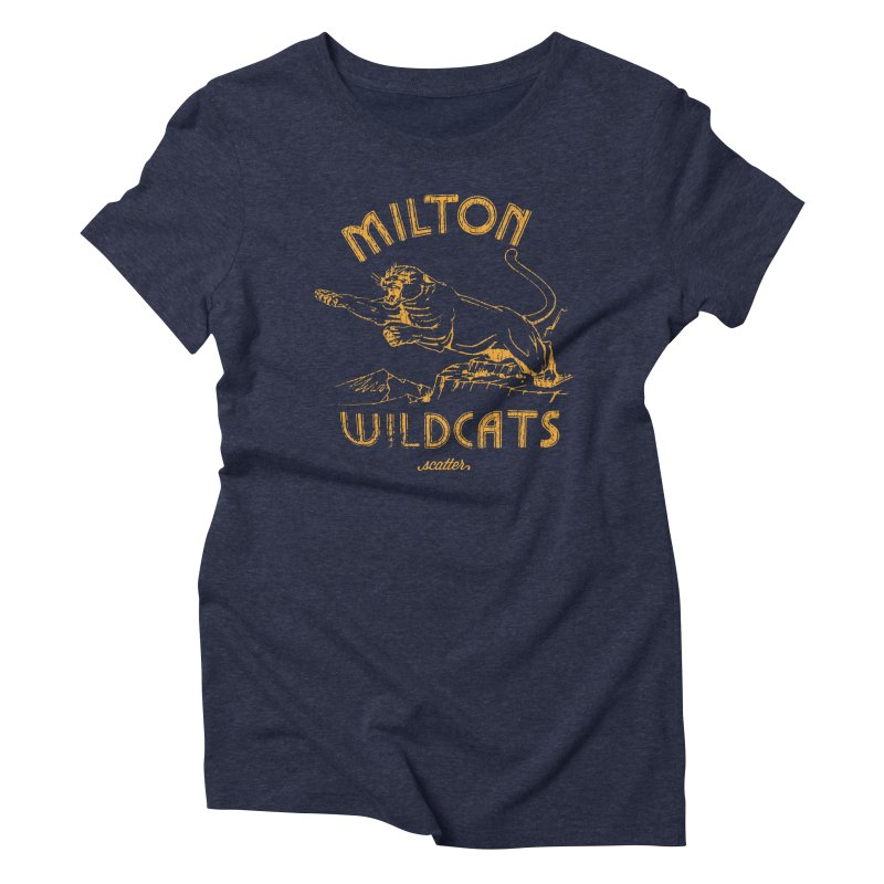 Milton Wildcats in Women's Triblend T-Shirt Navy by scattercreative's Artist Shop