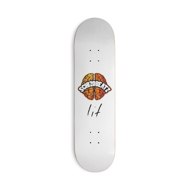 Brain - Fire lit Accessories Skateboard by Schizo