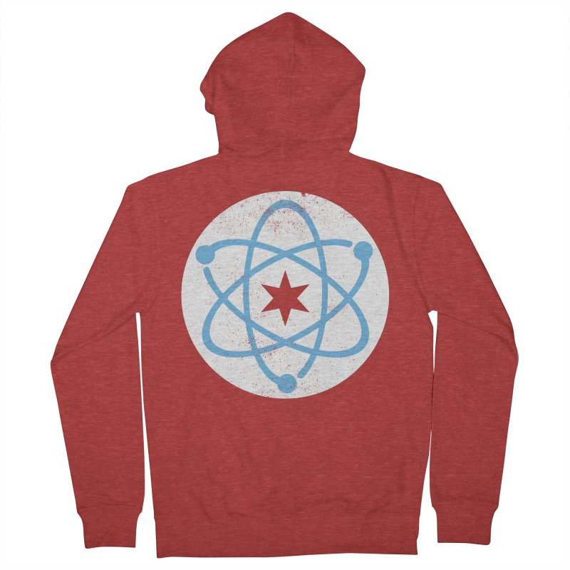 Red Worn Logo Men's French Terry Zip-Up Hoody by March For Science Chicago