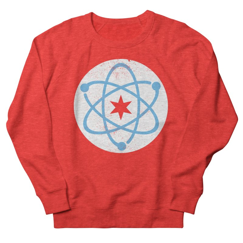 Red Worn Logo Men's Sweatshirt by March For Science Chicago