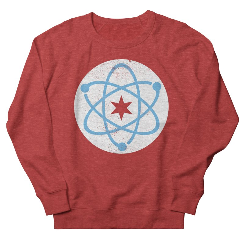 Red Worn Logo Men's French Terry Sweatshirt by March For Science Chicago