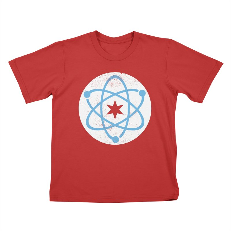 Red Worn Logo Kids T-Shirt by March For Science Chicago