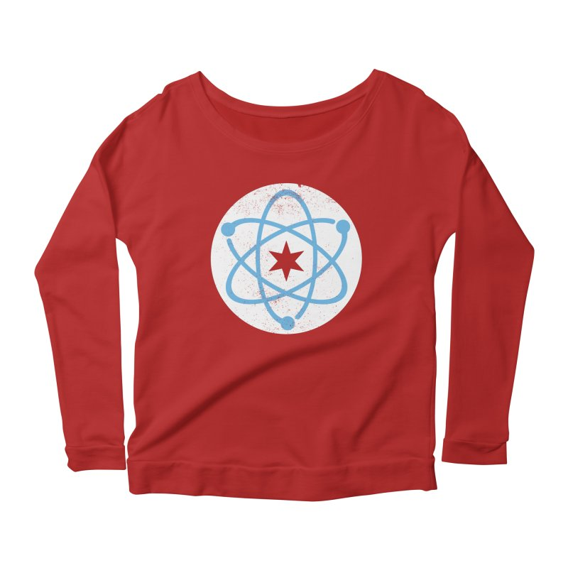 Red Worn Logo Women's Longsleeve Scoopneck  by March For Science Chicago