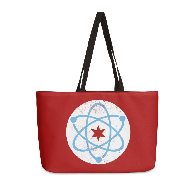 Red Worn Logo Accessories Weekender Bag Bag by March For Science Chicago