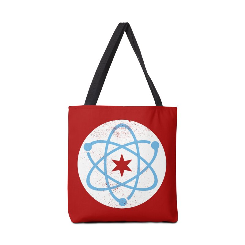 Red Worn Logo Accessories Bag by March For Science Chicago