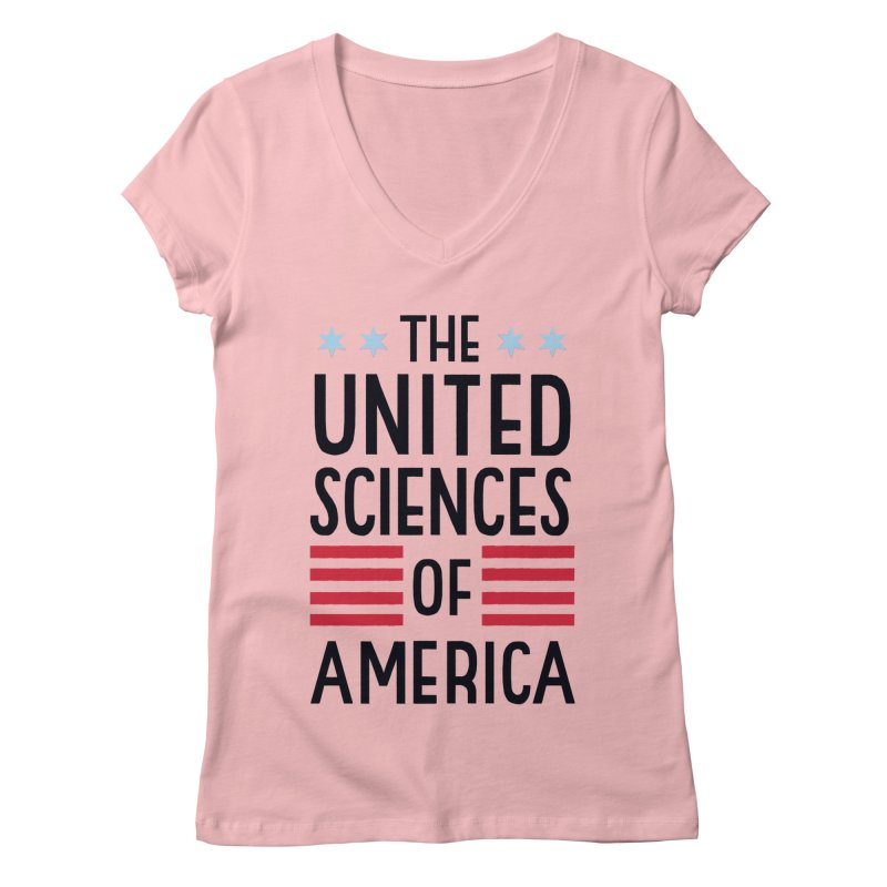 United Sciences of America by Julia Kuo Women's Regular V-Neck by March For Science Chicago