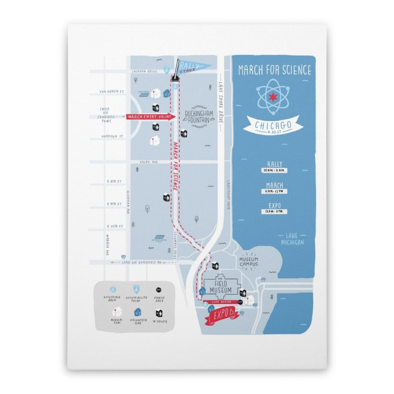 March For Science Chicago Commemorative Map by Julia Kuo Home Stretched Canvas by March For Science Chicago