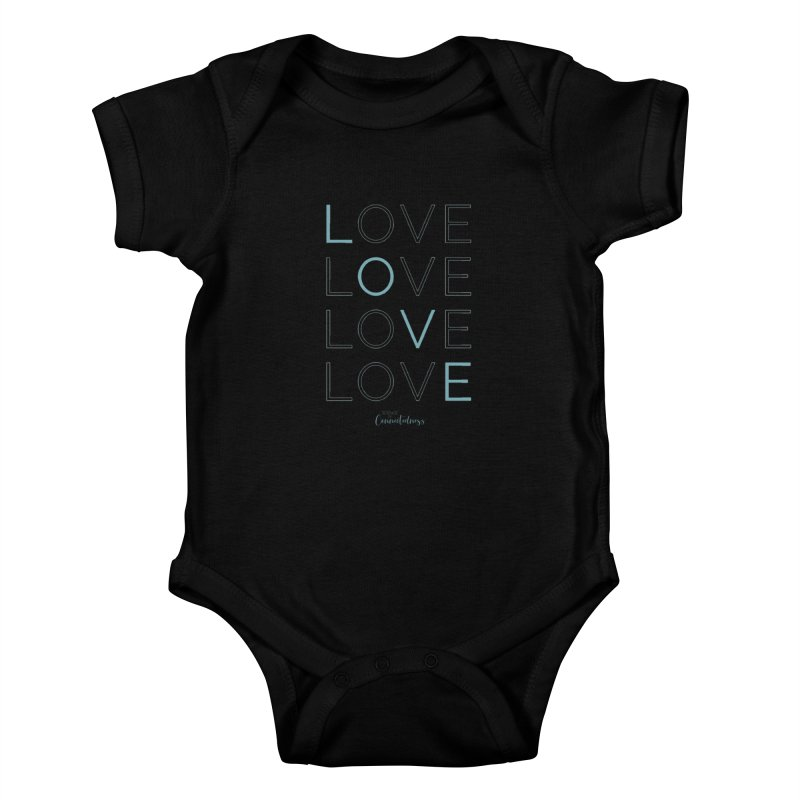 LOVE LOVE LOVE LOVE (blue letters) Kids Baby Bodysuit by Science of Connectedness