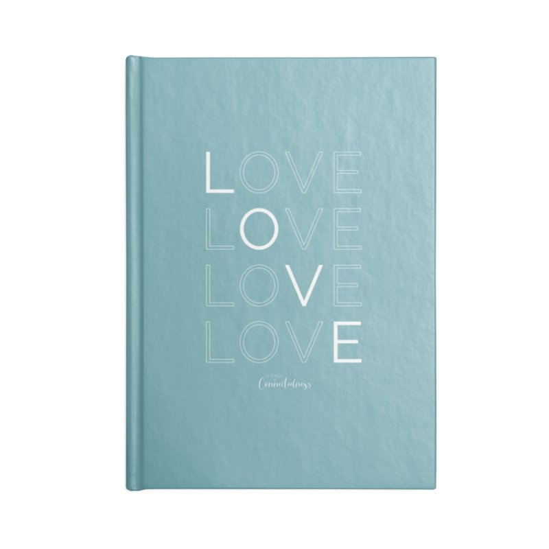 LOVE LOVE LOVE LOVE (white letters) Accessories Lined Journal Notebook by Science of Connectedness