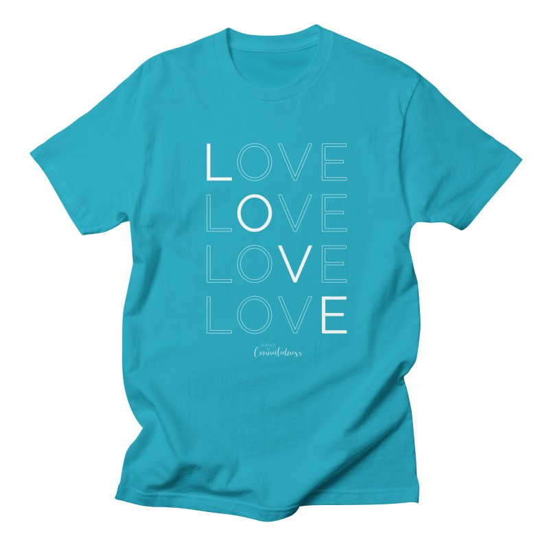 LOVE LOVE LOVE LOVE (white letters) Men's Regular T-Shirt by Science of Connectedness