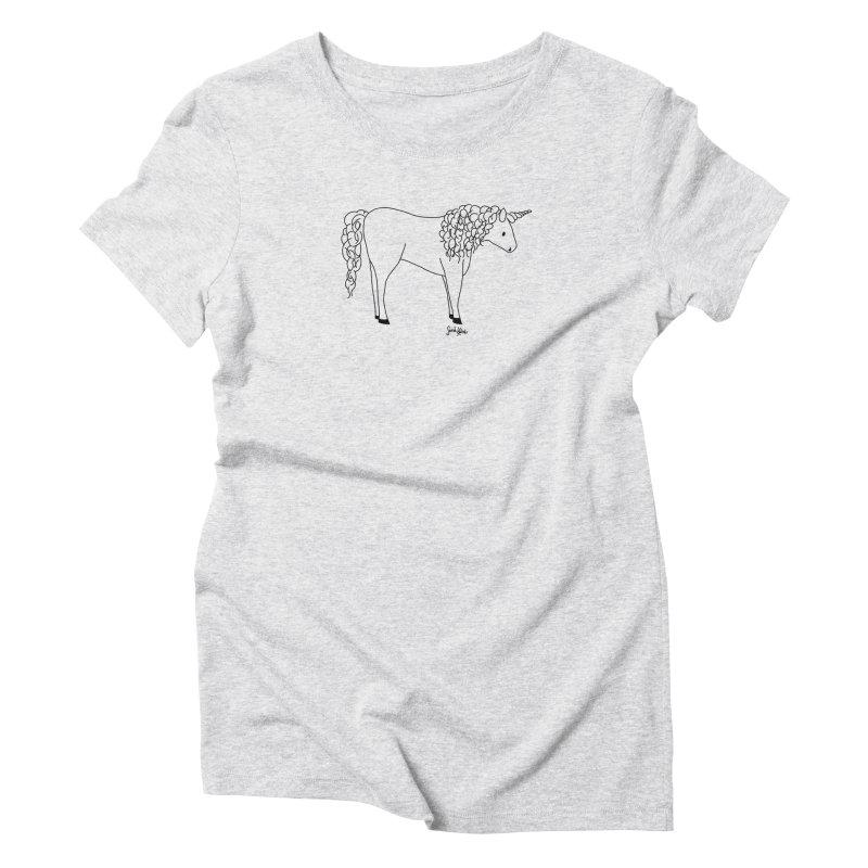 UNICORN (on light) in Women's Triblend T-Shirt Heather White by sarrah kaliski