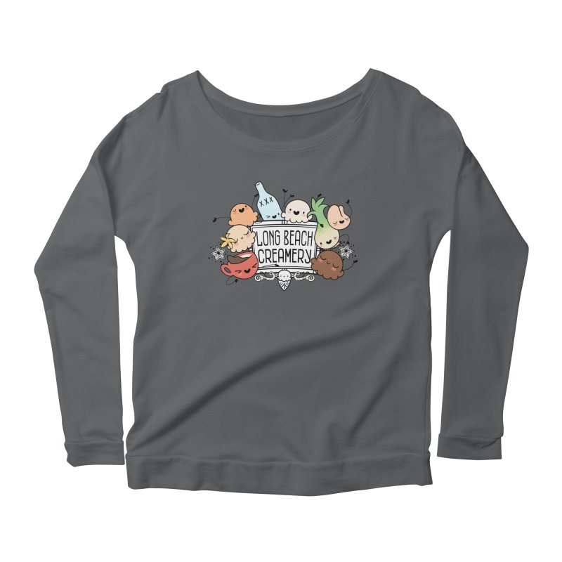 Long Beach Creamery Scoopie Logo Women's Scoop Neck Longsleeve T-Shirt by Scoopie.Life