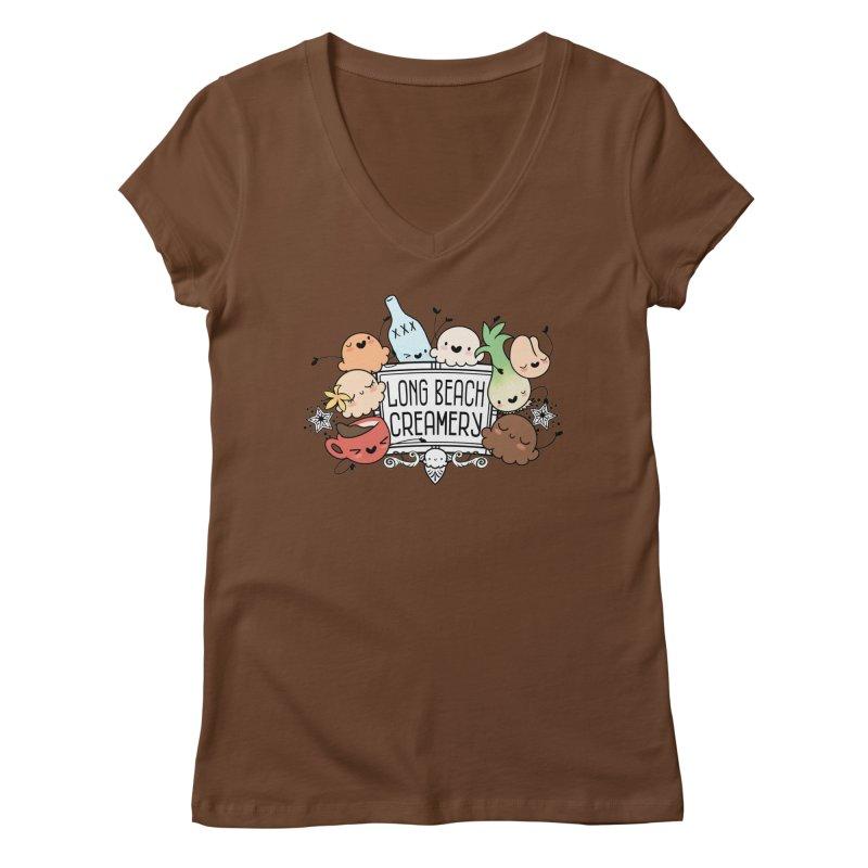 Long Beach Creamery Scoopie Logo Women's Regular V-Neck by Scoopie.Life