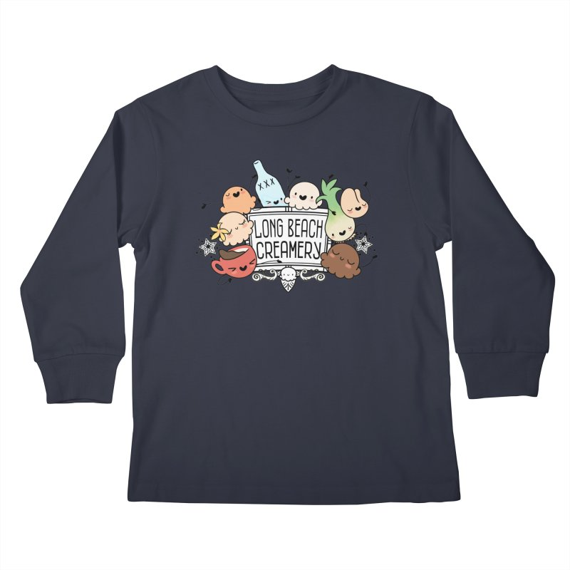 Long Beach Creamery Scoopie Logo Kids Longsleeve T-Shirt by Scoopie.Life