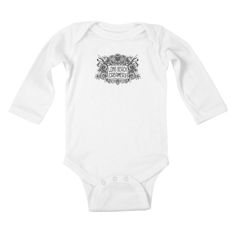 Long Beach Creamery Logo Kids Baby Longsleeve Bodysuit by Scoopie.Life