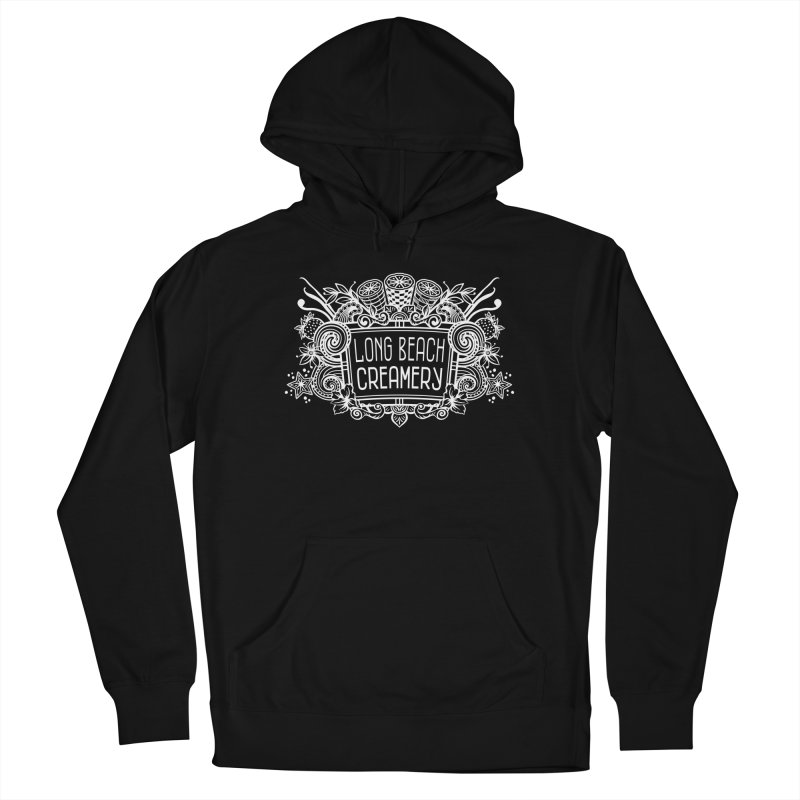 Long Beach Creamery - white Men's French Terry Pullover Hoody by Scoopie.Life