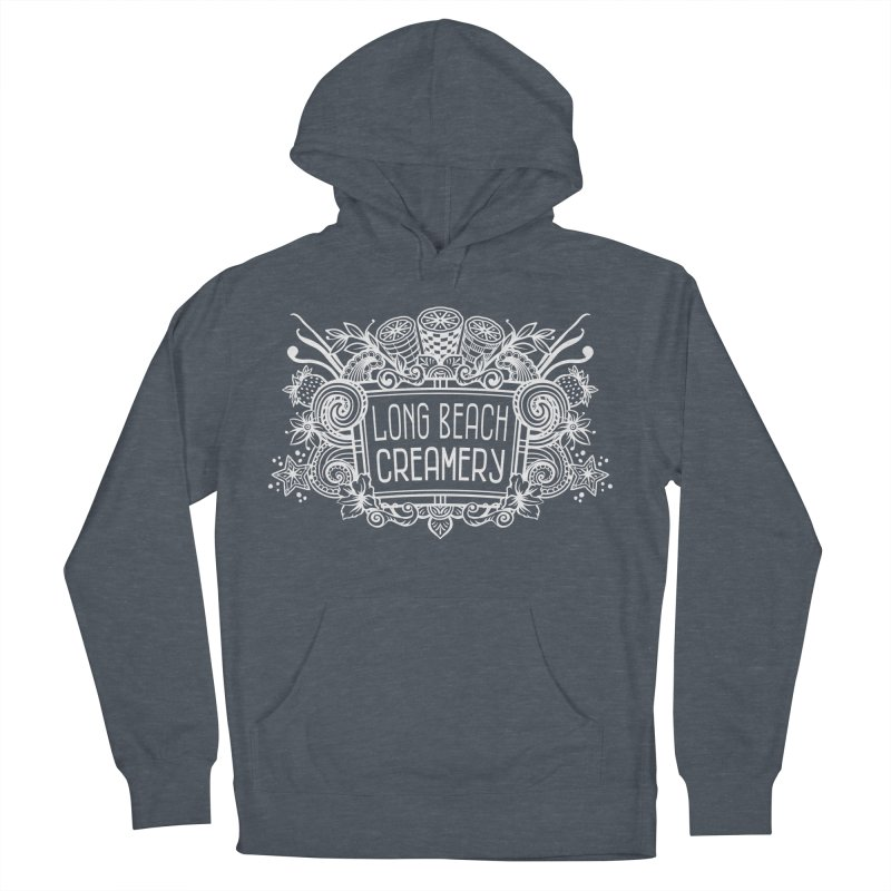 Long Beach Creamery - white Women's French Terry Pullover Hoody by Scoopie.Life