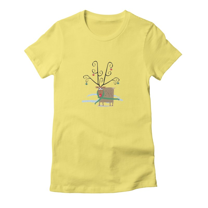 Holiday Reindeer Women's Fitted T-Shirt by scottdsyoung's Artist Shop