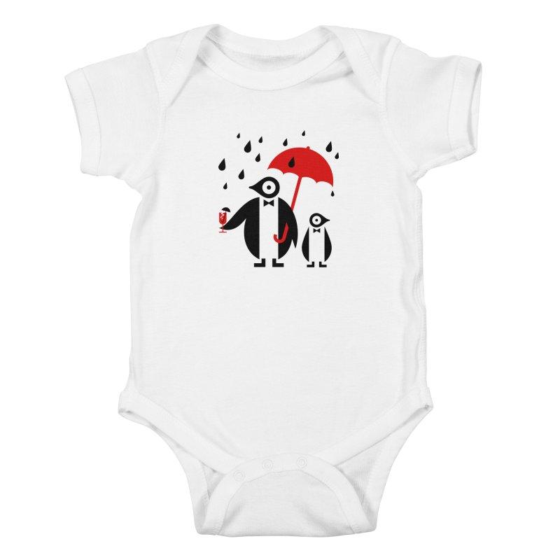 Penguins in Rain Kids Baby Bodysuit by scottpartridge's Artist Shop