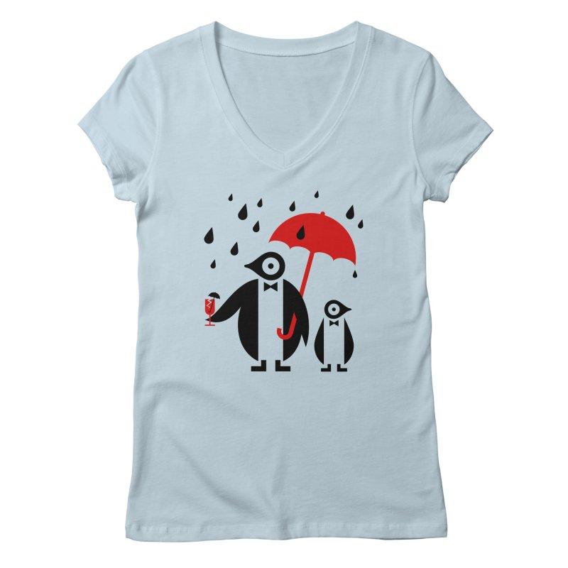 Penguins in Rain Women's V-Neck by scottpartridge's Artist Shop