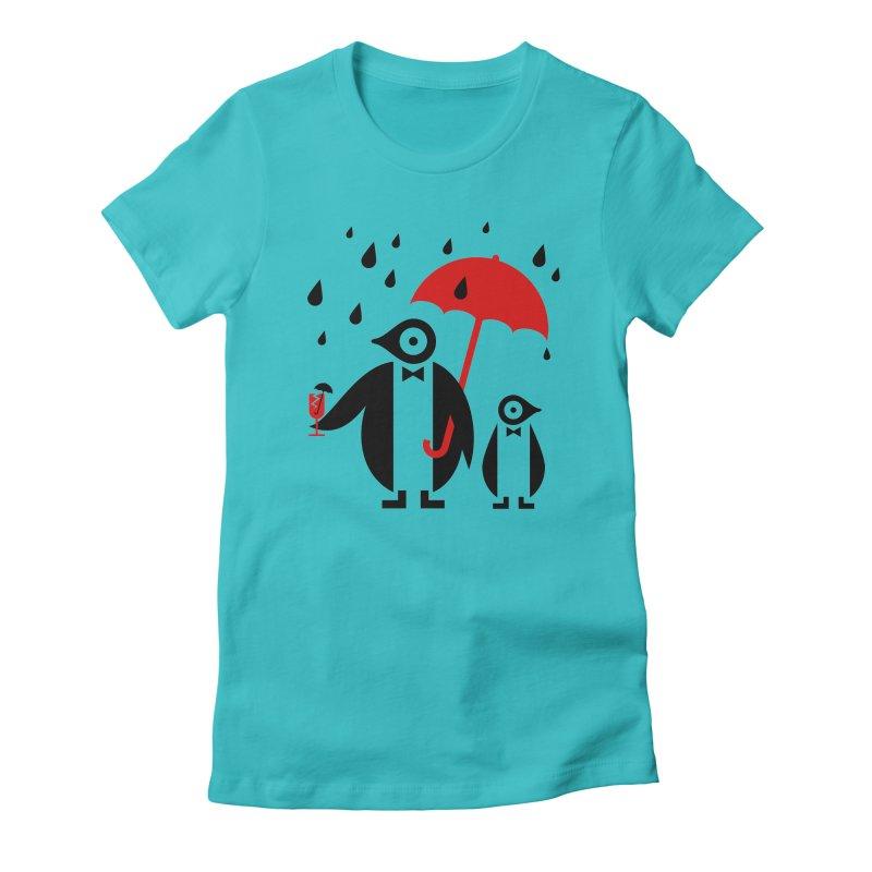 Penguins in Rain Women's T-Shirt by scottpartridge's Artist Shop