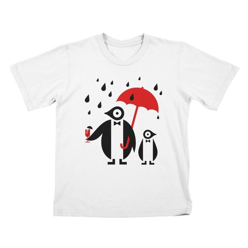 Penguins in Rain Kids T-Shirt by scottpartridge's Artist Shop