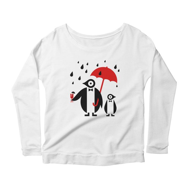 Penguins in Rain Women's Scoop Neck Longsleeve T-Shirt by scottpartridge's Artist Shop