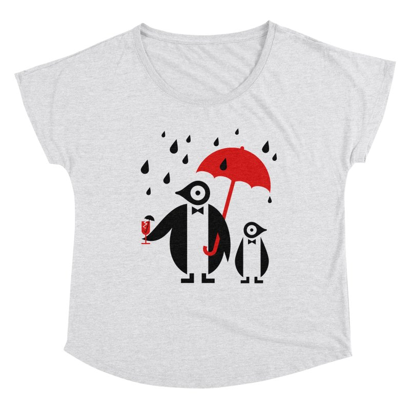 Penguins in Rain Women's Dolman Scoop Neck by scottpartridge's Artist Shop