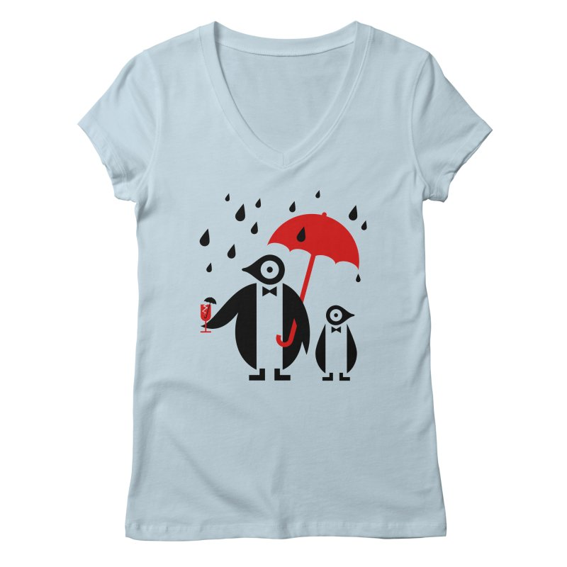Penguins in Rain Women's Regular V-Neck by scottpartridge's Artist Shop