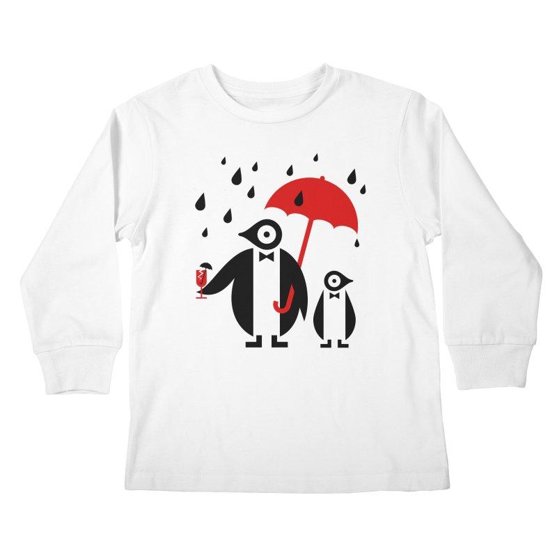 Penguins in Rain Kids Longsleeve T-Shirt by scottpartridge's Artist Shop