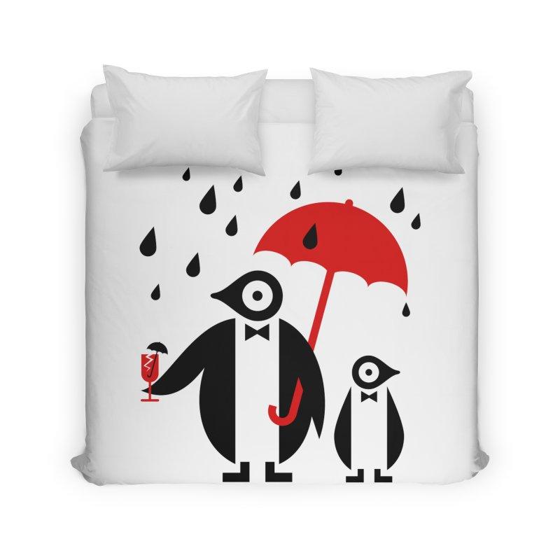 Penguins in Rain Home Duvet by scottpartridge's Artist Shop
