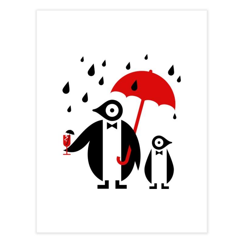 Penguins in Rain Home Fine Art Print by scottpartridge's Artist Shop