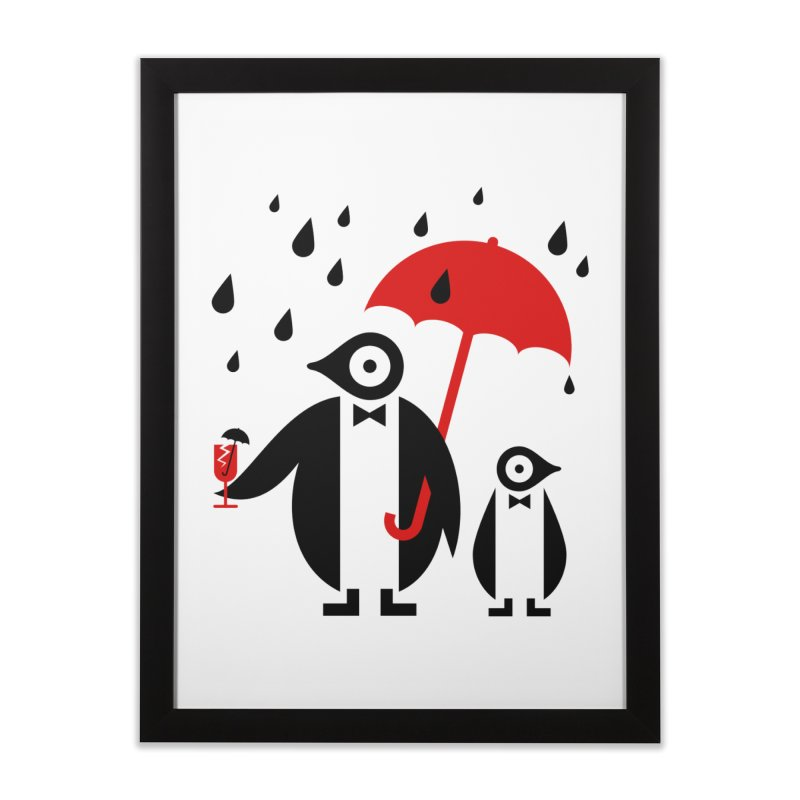 Penguins in Rain Home Framed Fine Art Print by scottpartridge's Artist Shop