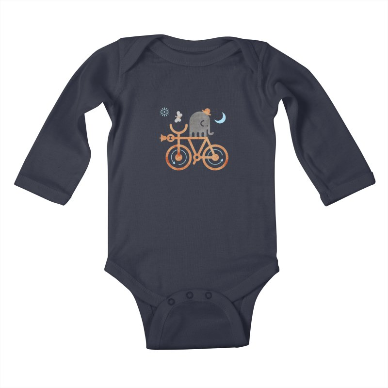 Elephant and Moth Kids Baby Longsleeve Bodysuit by scottpartridge's Artist Shop