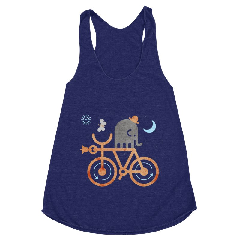 Elephant and Moth Women's Racerback Triblend Tank by scottpartridge's Artist Shop