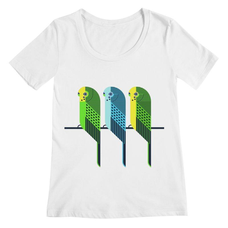 Parakeets Women's Scoopneck by scottpartridge's Artist Shop