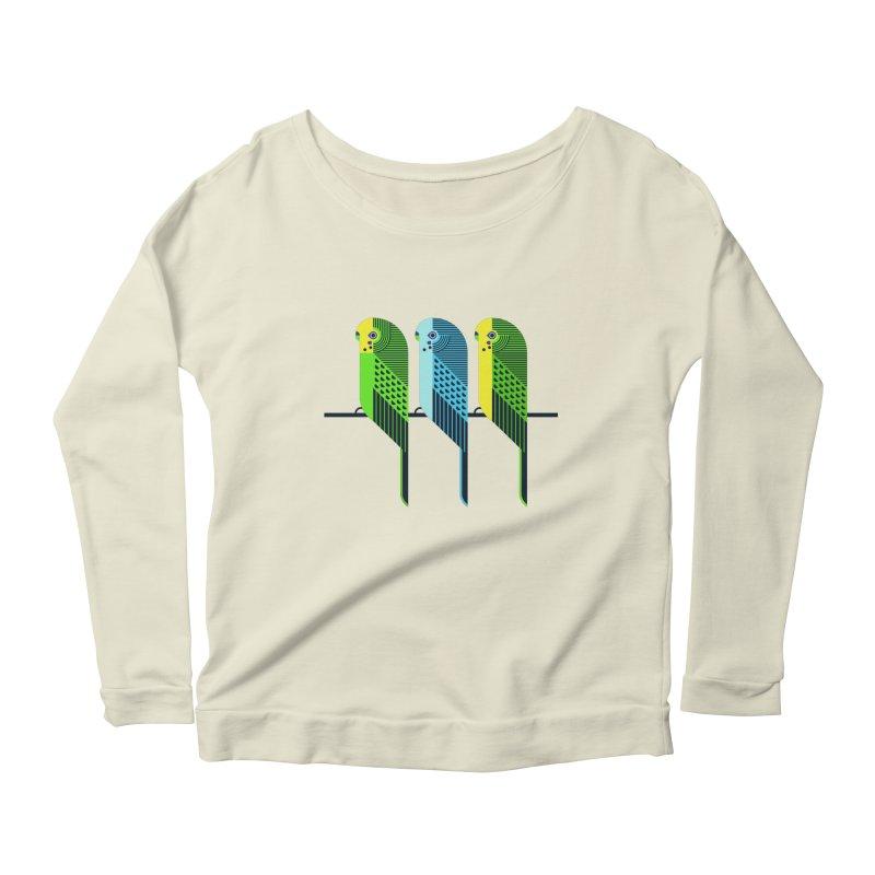 Parakeets Women's Longsleeve Scoopneck  by scottpartridge's Artist Shop