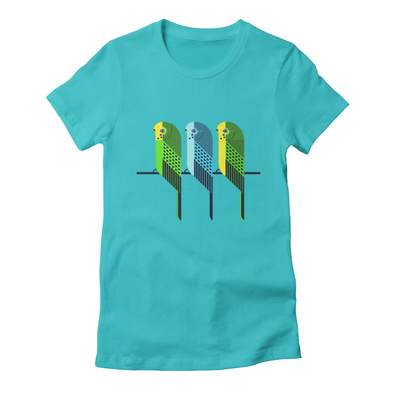 Parakeets Women's Fitted T-Shirt by scottpartridge's Artist Shop