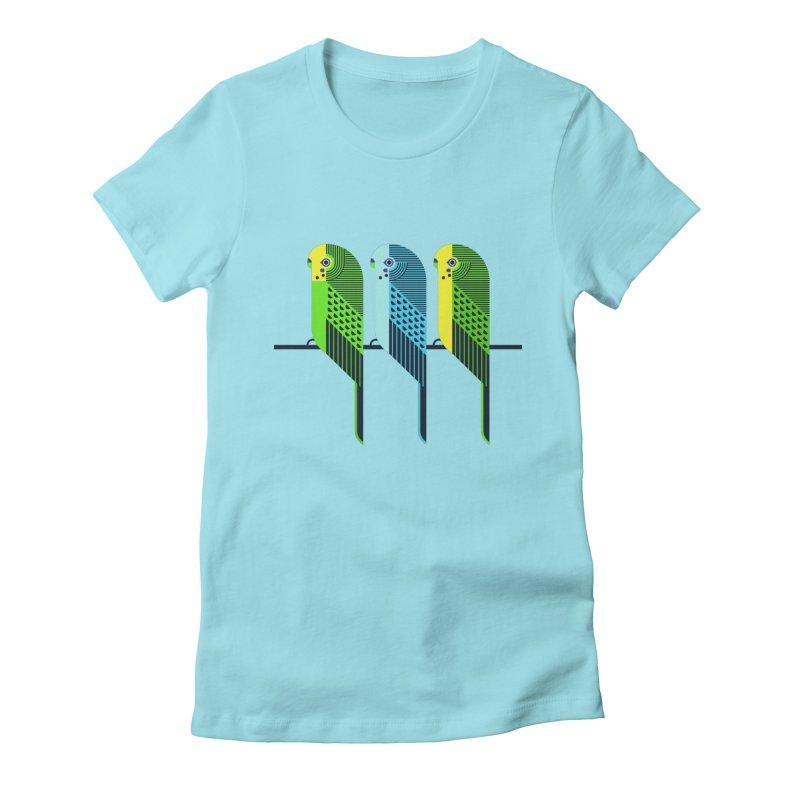Parakeets Women's Fitted T-Shirt by scottpartridge's Artist Shop