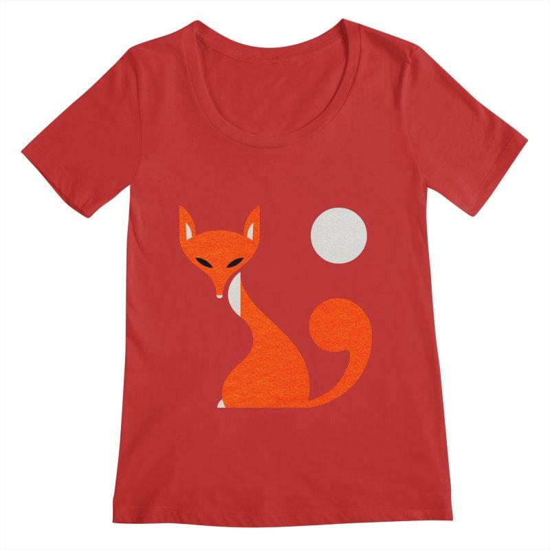 Fox and Moon Women's Regular Scoop Neck by scottpartridge's Artist Shop