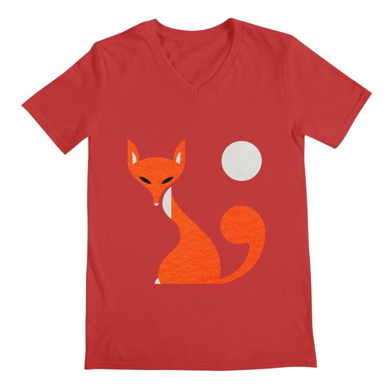 Fox and Moon Men's Regular V-Neck by scottpartridge's Artist Shop